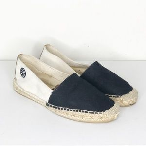 Tory Burch Cream and Black Espadrilles Shoes
